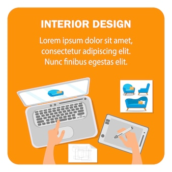 Interior design flat vector banner template.