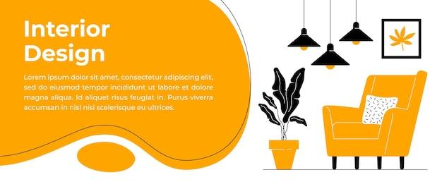 Interior design or furniture sale banner template