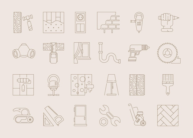 Значок дизайна интерьера. образцы занавесок для напольных покрытий, осветительные приборы, набор оконного декора.