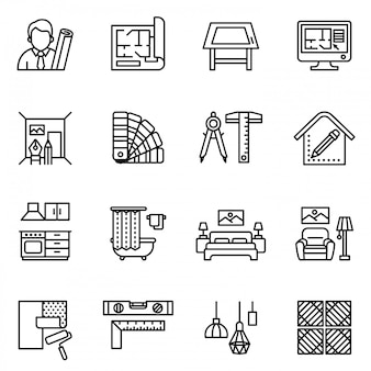 Interior design icon set. line style stock.