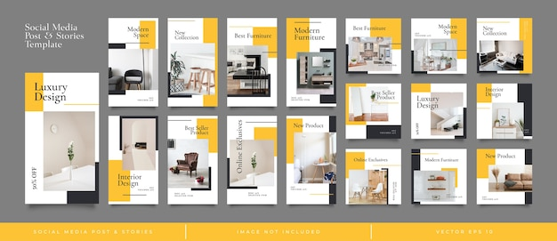 Interior design instagram social media posts and stories template