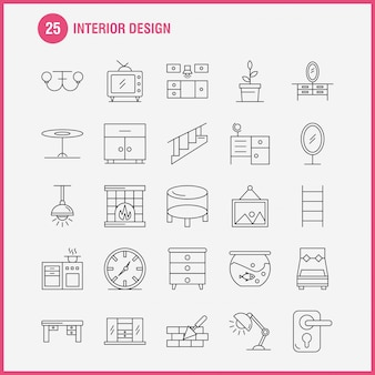 Interior design line icons set for infographics, mobile ux/ui kit