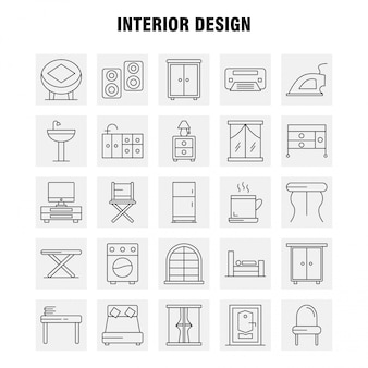Interior design line icons set