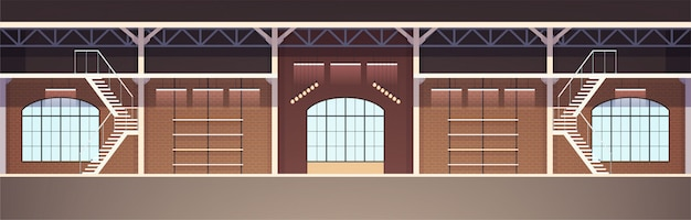 Interior design in loft style. empty studio apartment illustration