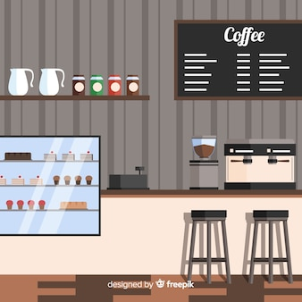 Interior design of modern coffee shop with flat design