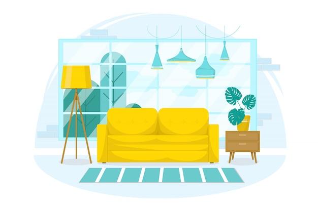 Дизайн интерьера гостиной с мебелью, большим окном, желтым диваном, торшером с цветами и подставкой на белом фоне. плоский стиль пастельно-синий. иллюстрация