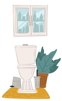 집에 있는 욕실, 화장실, 무성한 잎이 있는 장식용 관엽식물의 인테리어 디자인. 화장품과 거울이 있는 캐비닛. 미니멀한 공간의 화장실, 현대적인 화장실. 평면 스타일의 벡터