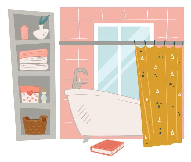 욕실 인테리어 디자인, 커튼이 달린 욕조, 개인 소지품 보관용 선반. 수건과 장식용 꽃무늬, 큰 창문, 바닥에 책. 평면 스타일의 미니멀 공간 벡터