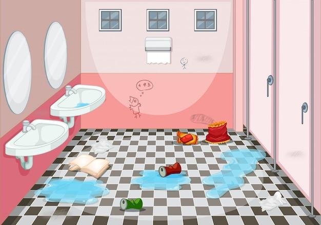 더러운 화장실의 인테리어 디자인