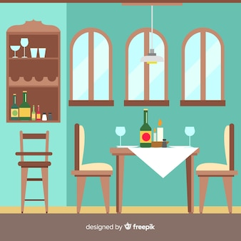 Interior design of elegant restaurant with flat design