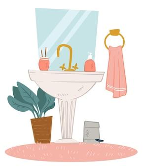 현대적인 미니멀리즘 욕실의 인테리어 디자인. 세면도구, 거울, 장식용 무성한 집 식물이 냄비에 있는 싱크대. 바닥에 수건과 귀여운 카펫. 현대 주거 스타일. 플랫에서 벡터