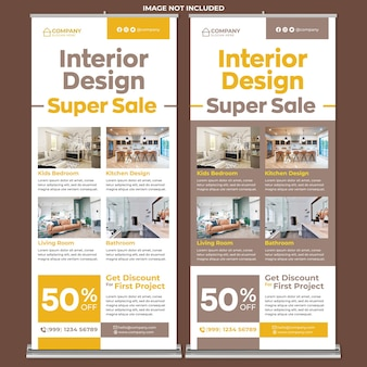 Interior design promotion roll up banner print template in flat design style