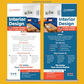 Interior design roll up banner print template in modern design style