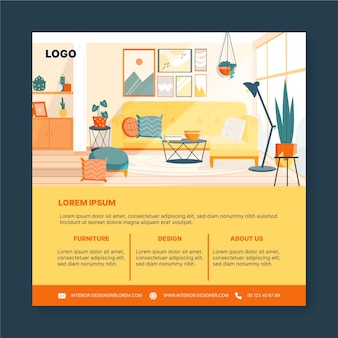 Interior design square flyer