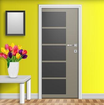 Interior design with door and flowers