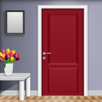 Interior design with red door and tulip flowers