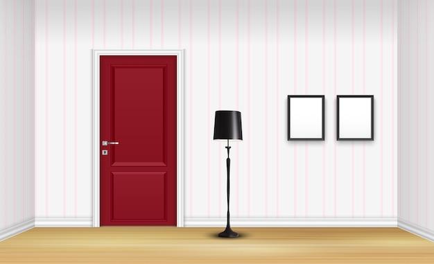 Interior design with red door