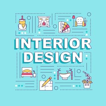 인테리어 디자인 단어 개념 배너입니다. 전문 디자이너 에이전시. 프로젝트를 계획합니다. 파란색 배경에 선형 아이콘으로 인포 그래픽입니다. 격리 된 인쇄 술입니다. 벡터 개요 rgb 컬러 일러스트