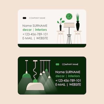 Interior designer business card of a living room