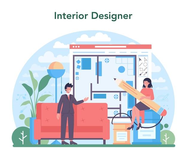 방의 디자인을 계획하는 인테리어 디자이너 컨셉 데코레이터