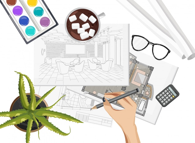 Interior designer desk with pantone color formula guide, keyboard, sketch and coffee with marshmallow