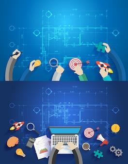 노트북 컴퓨터에서 작업하는 데이터를 논의하는 인테리어 디자이너