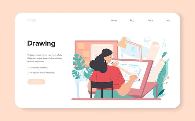 Дизайнер интерьера веб-баннер или декоратор целевой страницы, планирующий дизайн