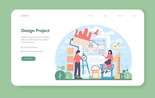 Веб-баннер дизайнера интерьера или целевая страница. планировка декоратора