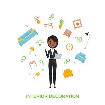 Interior designer with soaring furniture. vector illustration.
