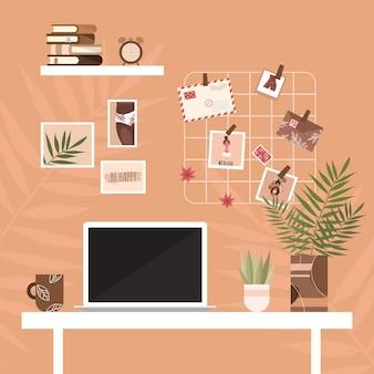 インテリアデザイン。自宅での職場。ホームオフィスのインテリア。ワークスペース。スカンジナビアスタイル。リモートワーク