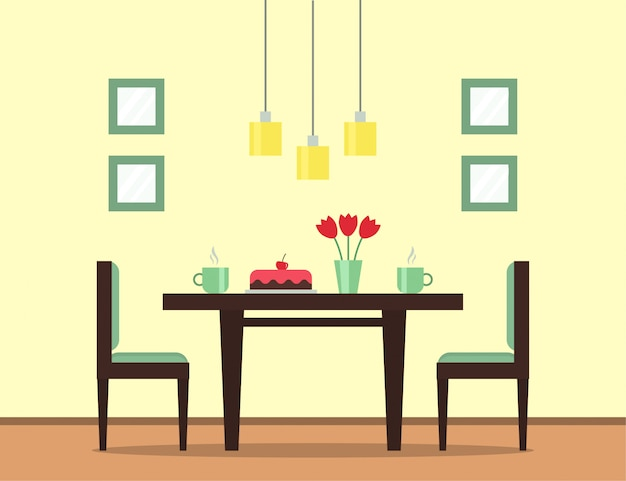 The interior of the dining room. dining table with cake, cups with tea or coffee, flowers and chairs.