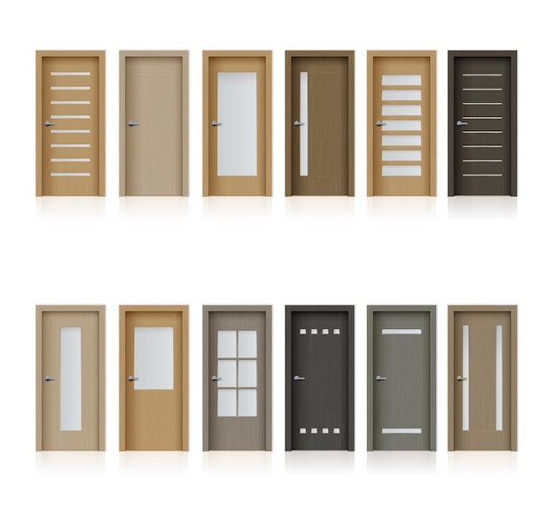 Внутренние двери изолированные реалистичные элементы дизайна для украшения комнаты или офиса