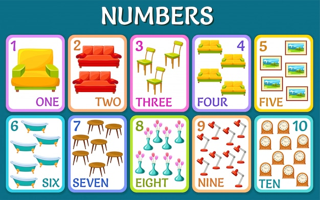 Interior elements. children cards numbers.