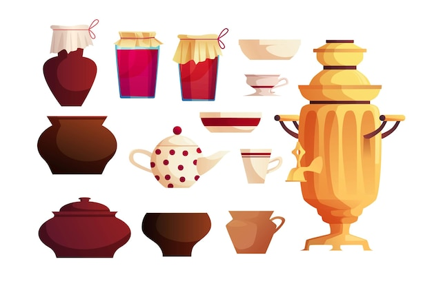 러시아 요리의 인테리어 요소. 고대 러시아 사모바르, 주전자, 항아리, 냄비, 주방 용품.