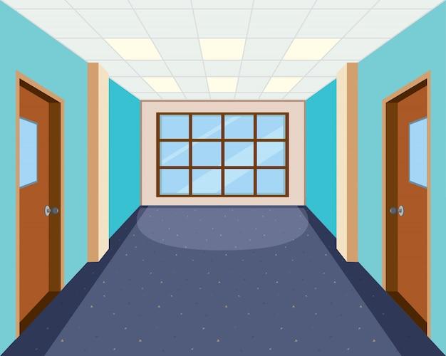 Interior of empty hallway