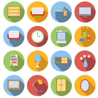 Interior flat icons set
