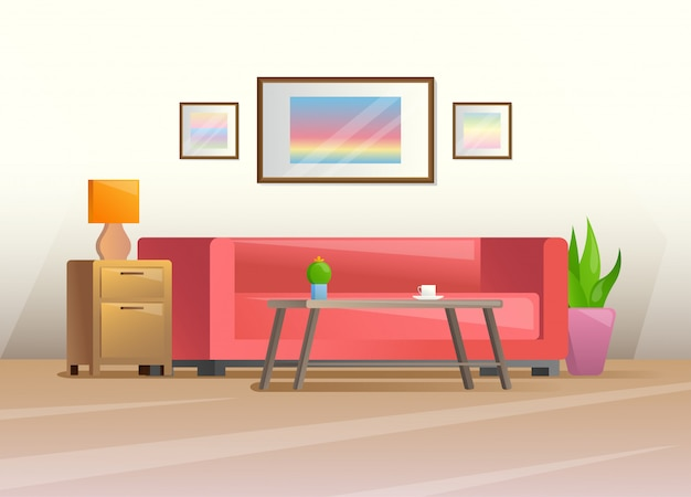 Interior in a flat style