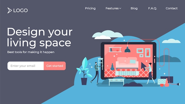Interior flat tiny persons vector illustration landing page template design
