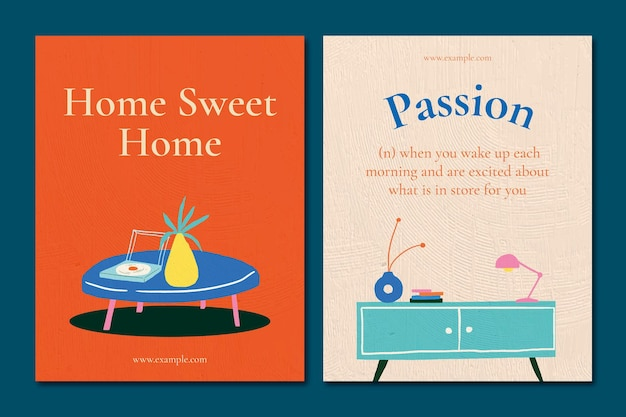 Interior flyer template vector with quote in hand drawn style set