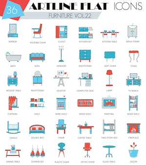 Interior furniture flat line icons set