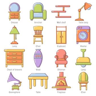 Interior furniture icons set