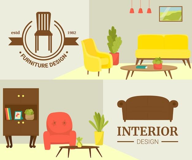 インテリア家具モダンなデザインセットベクトルイラストホームリビングルームスタイル椅子ソファランプ...