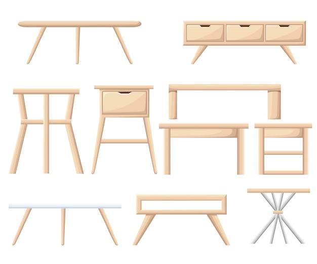 インテリア家具セット。寝室の家具:ベッドサイドテーブル、ナイトテーブル、バスケット、キャビネット、椅子、ボックス。白のオフィスおよび家の漫画オブジェクト。図