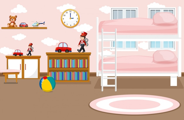 An interior of girl bedroom illustration