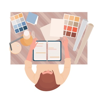 Interior or graphic designer at work vector flat top view