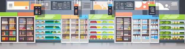 Interior of grocery shop or supermarket with shelves rows retail store shopping concept horizontal banner