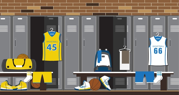 Interior of a gym locker room. basketball sport fitness club dressing room.