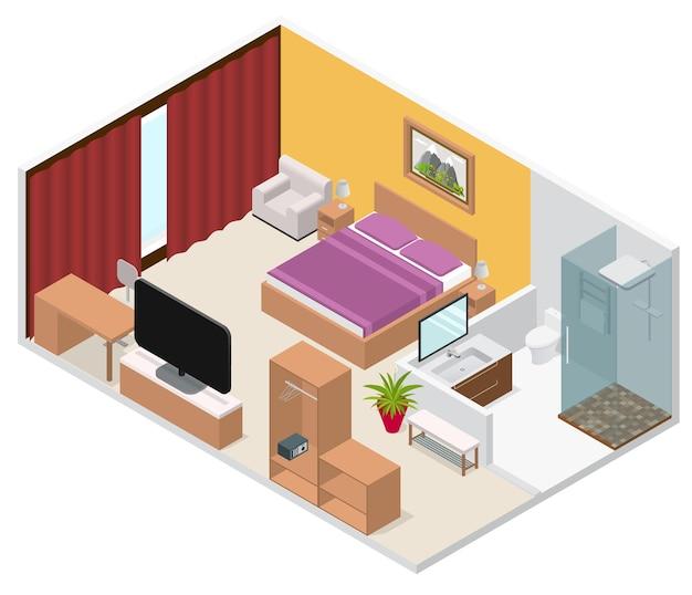 Интерьер гостиничного номера изометрический вид с мебелью и оборудованием, удобный и классический дизайн. векторная иллюстрация