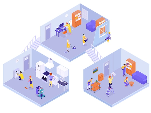 Interior house cleaning isometric