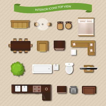 Interior Icons Top View Vector Free Download
